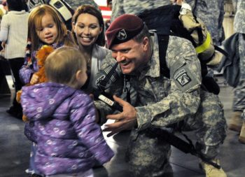 military veterans returning home to family