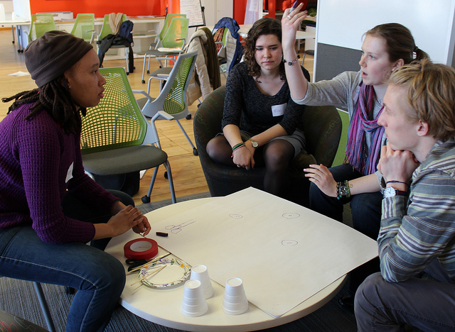 Students engage in discussion during a TRI-Lab retreat on local responses to climate change