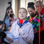 Greta Thunberg addresses climate strikers