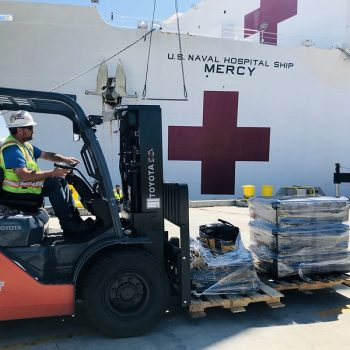 Forklift moving medical supplies to fight coronavirus