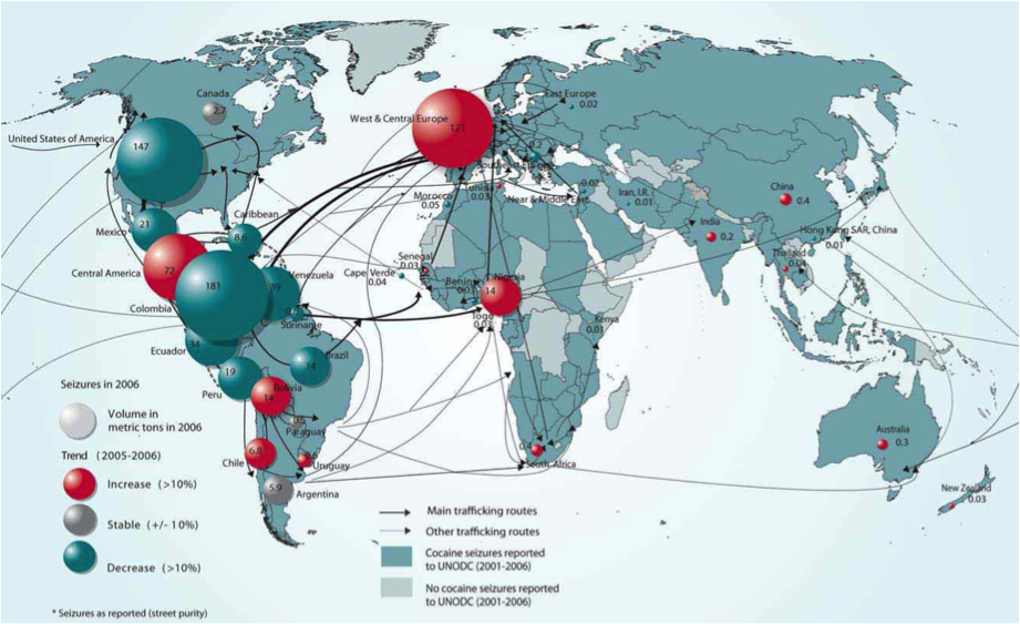 This map of world cocaine traffic in 2006 shows the growing threat of drug trafficking in Africa.