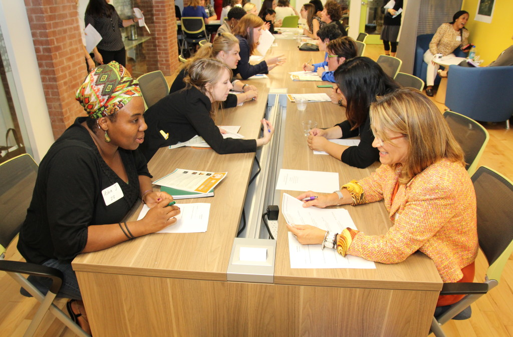 Entrepreneurs at a coaching event hosted by the WINLab at Babson College's Center for Women's Entrepreneurial Leadership (CWEL)